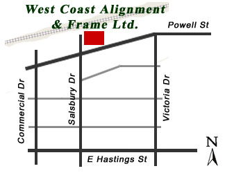 Location of West Coast Alignment & Frame